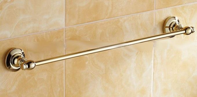 Luxury Golden Brass Wall Mounted Bathroom Single Towel Bar