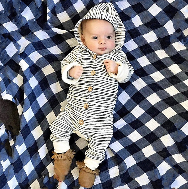 HTB1YKK.emfD8KJjSszhq6zIJFXaR 2018 Brand New Toddler Newborn Baby Boy Girl Warm Infant Romper Striped Jumpsuit Hooded Clothes Long Sleeve Outfit