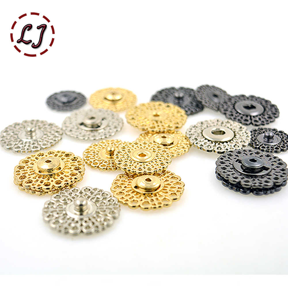 High quality 10pcs/lot 18mm/21mm/25mm gold white big Metal copper Snap Fasteners Press Button for suit jacket clasp mink coat