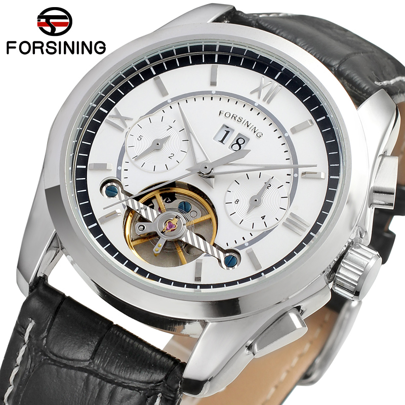 FORSINING Men s Watch Antique Tourbilion Autoamtic Auto date Leather Top Brand Analog Dress Wristwatch FSG625M3