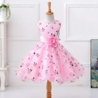Pink Purple Flower Dress In Sashes For Wedding Party Girls Floral Print Dress First Communion Dresses