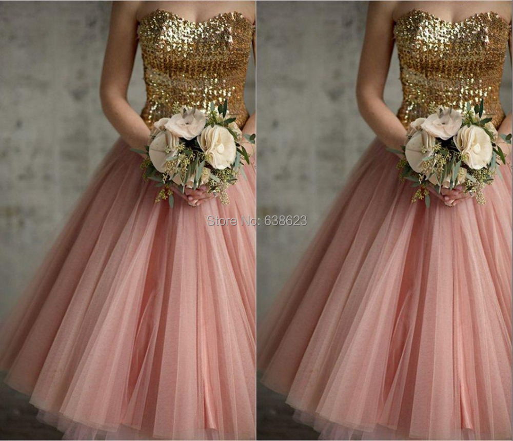 Dab2444 free shipping new lace up back gold sequins pink for Gold vintage wedding dresses