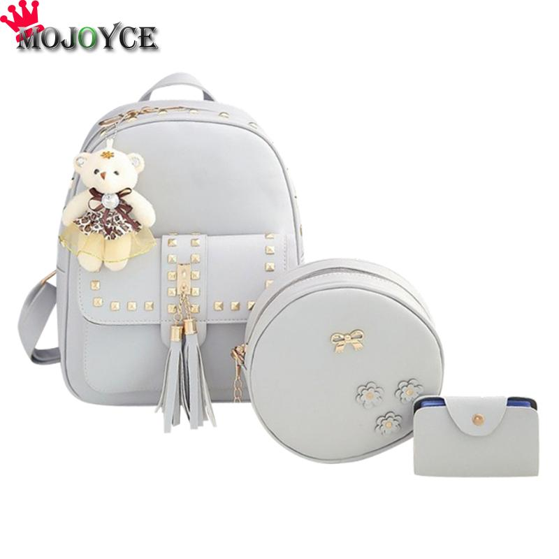 3Set Rivet Tassel Black Cackpack School Bags For Teenage Girls SAC A DOS Femme Mochilas Mujer PU Leather Backpack Top-Handle Bag hot sale composite bag pu leather backpack women cute 3 sets bag school backpacks for teenage girls black bags letter sac a dos