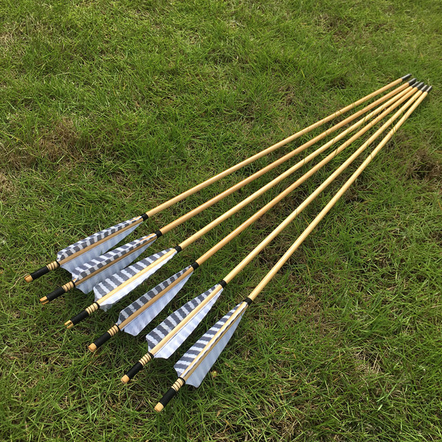 6/12pcs Chinese traditional wooden arrows  striped shield feathers For Archery