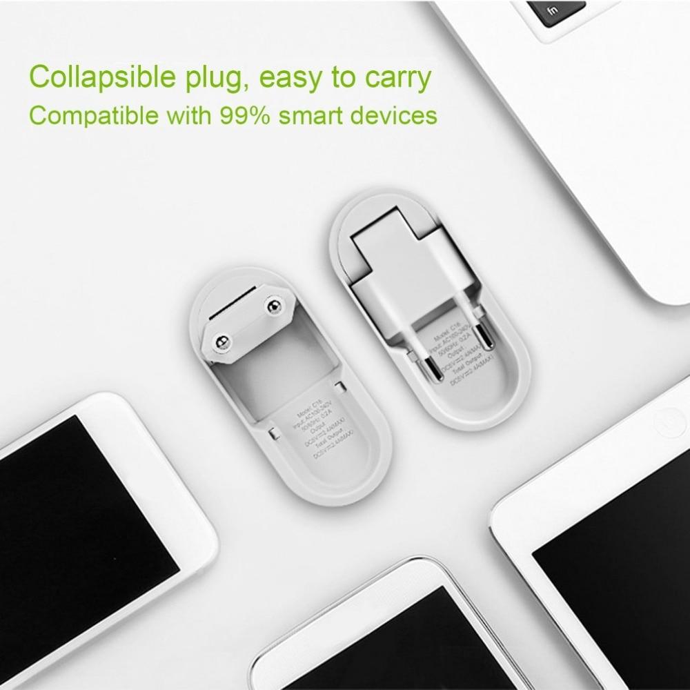 НОСО c16 5 В 2.4a Smart сроки двойной Порты USB Зарядное устройство 1-5 часов Интеллектуальный время Управление 90 градусов Складная разъем