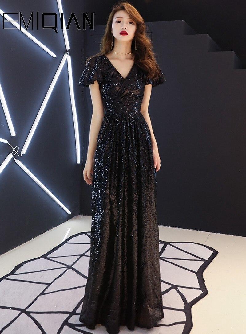 NEW A line Cap Sleeve Black Long Formal   Evening     Dress   Sequined V Neck Party Banquet Choir   Dresses