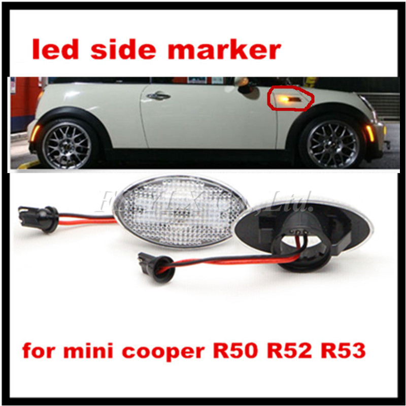 2pcs amber color led side marker light for bmw mini cooper R50 R52 R53 fender side marker light lamp Clear Lens Side Marker lamp набор приспособлений для обслуживания грм двигателя bmw n12 mini cooper jonnesway al010079