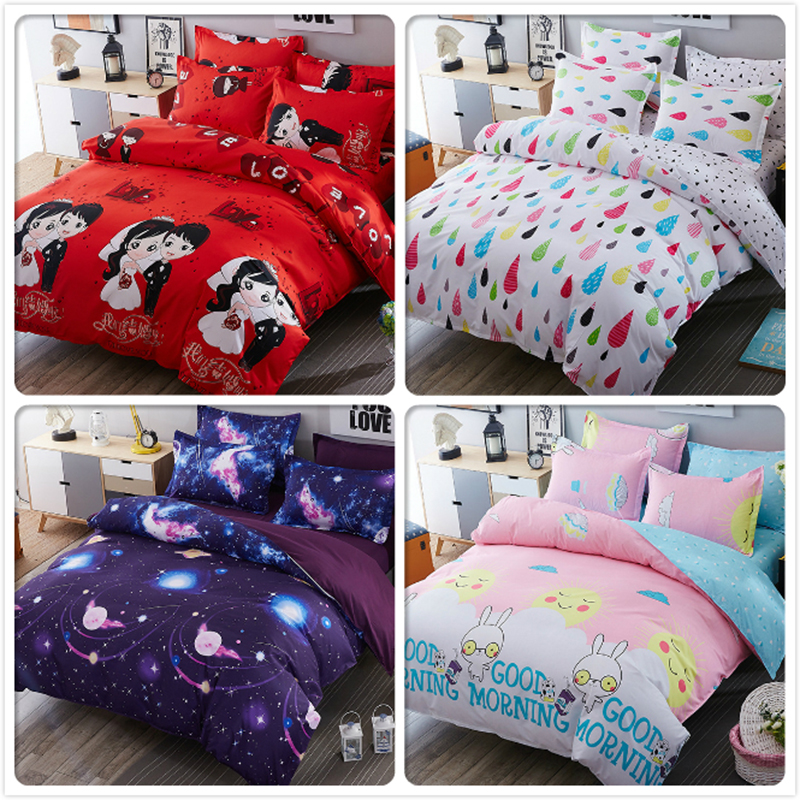 Lover Sweet Red Couple Size Duvet Cover 4pcs Bedding Set Full King Queen Twin Double Bedsheet 1.5m 1.8m 2.2m Bedsheet Bed Linens