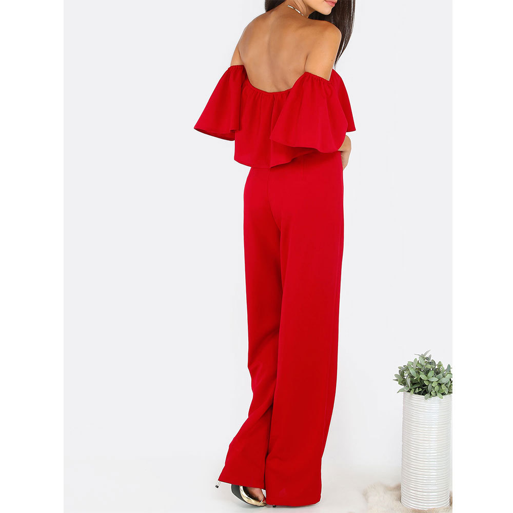 62833817578 New Plus Size Women Sexy Strapless Jumpsuits Elegant Flare Sleeve Loose  Jumpsuits Party Wear Off Shoulder Slim Fit Rompers H852-in Jumpsuits from  Women s ...