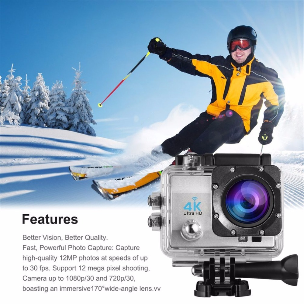 Action Camera Remote Ultra HD 4K WiFi 1080P/60fps 2.0 LCD DV Sport Camera Go Waterproof for Outdoor Q3H EU Plug q3h action sport camera 4k ultra 1080p 60fps hd waterproof 30 wifi digital cam support self stick