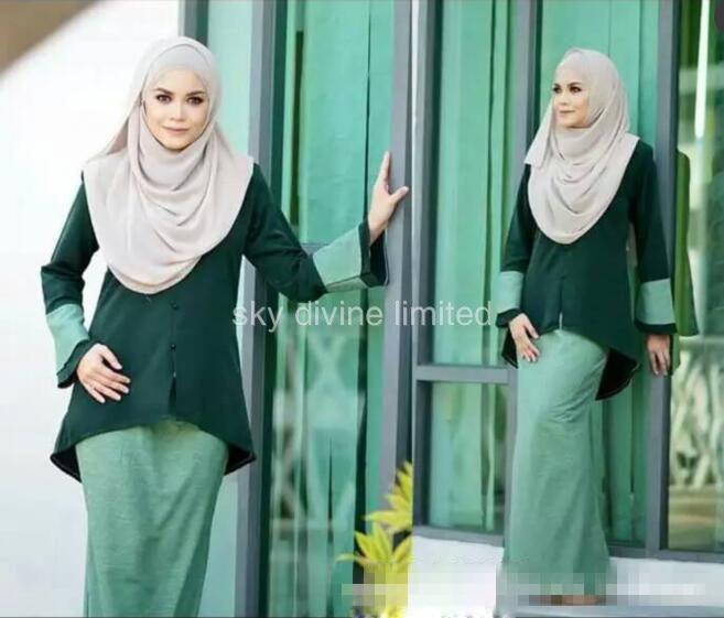 2016 fashion abaya muslim girl long dress turkish women clothing burqa plus size dubai arab djellaba skirt suits a set Платье