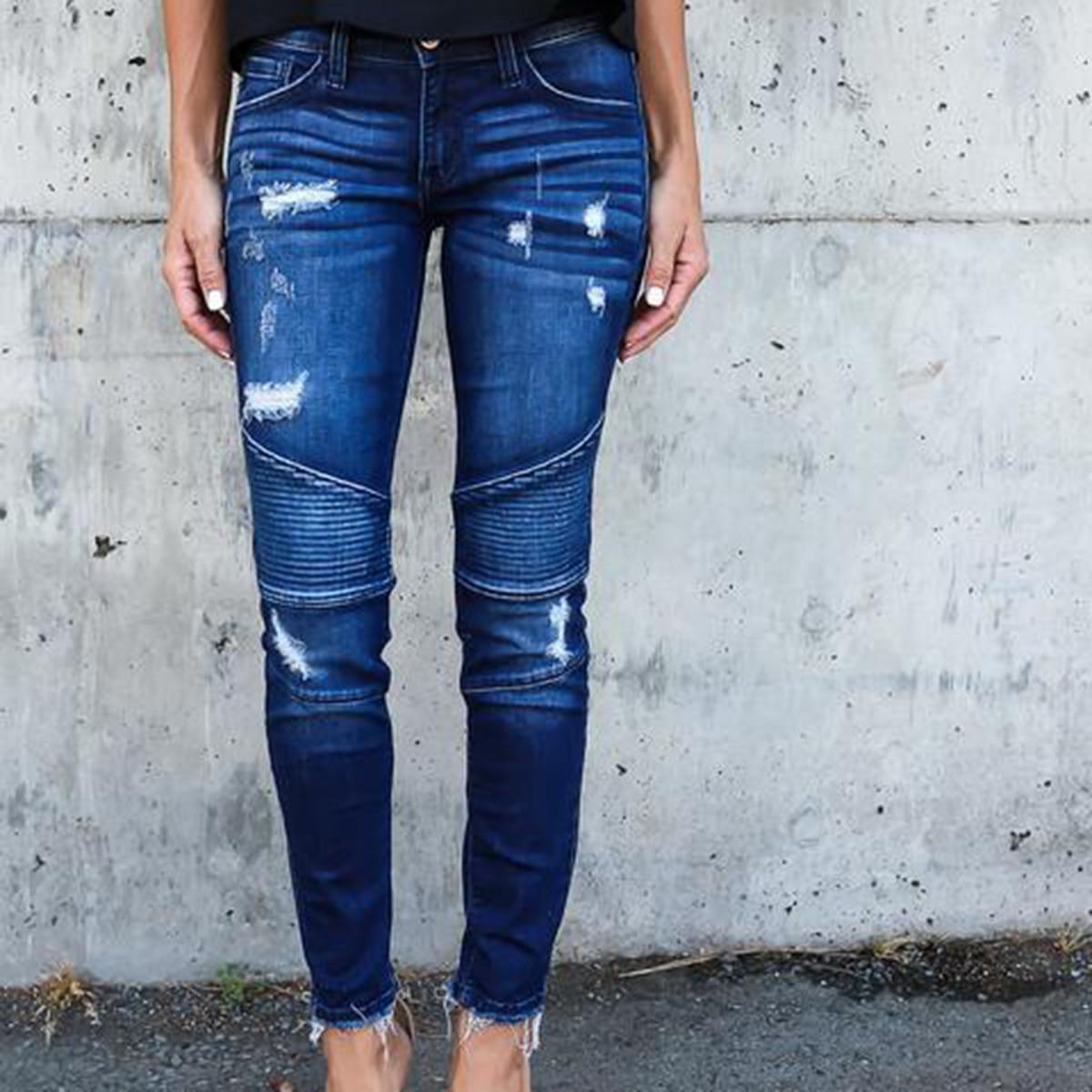 Для женщин карандаш Брюки для девочек плиссированные длинные джинсы Тонкий плиссированные рваные эластичного денима Узкие брюки Повседневное танцор штаны для девочек