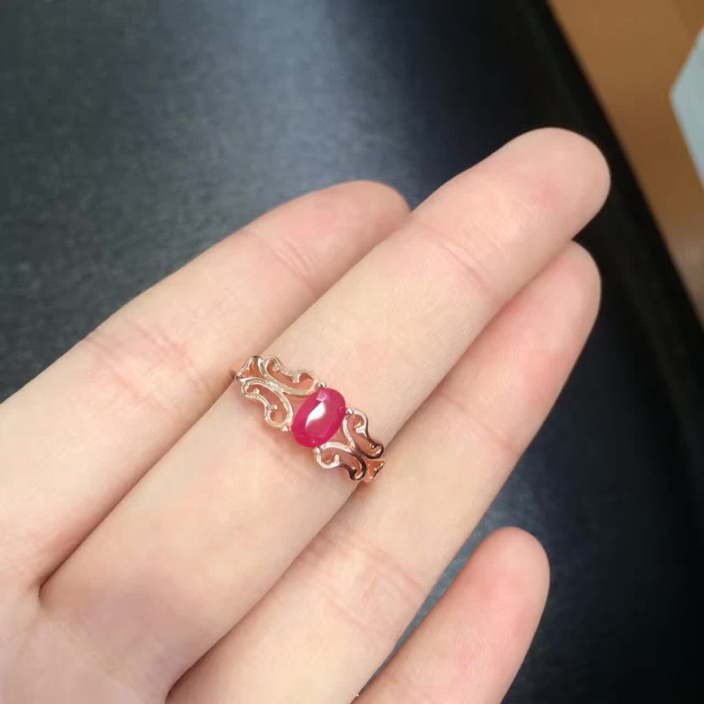 2017 Qi Xuan_Fashion Jewelry_Silver Simple Elegant Woman Rings_Rose Gold Color Fashion Red Rings_Manufacturer Directly Sales