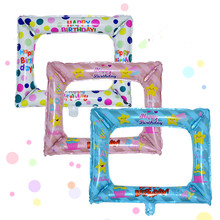 Birthday Photo Frame Foil Balloons Photo props Globos Birthd