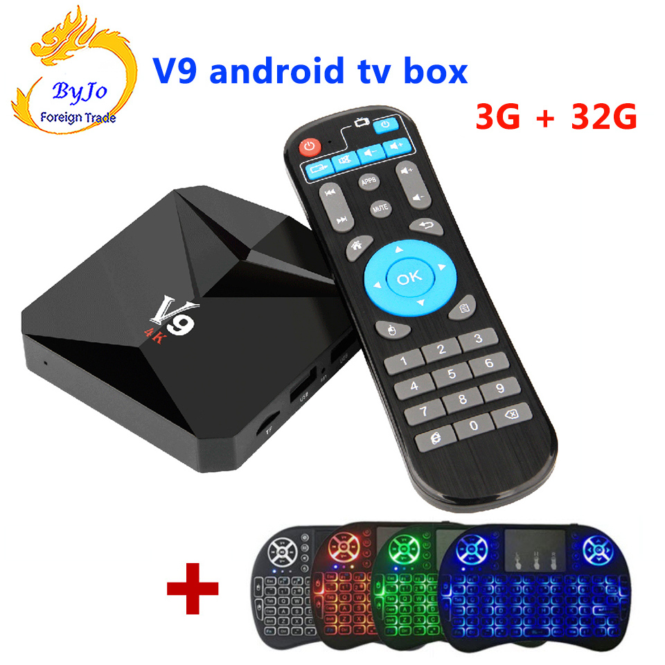 V9 Android 7.1 TV BOX 2G 16G Or 3G 32G Amlogic S912 Octa Core 2.4G WiFi BT4.0 4K 3D H.265 HDR10 With wireless keyboard
