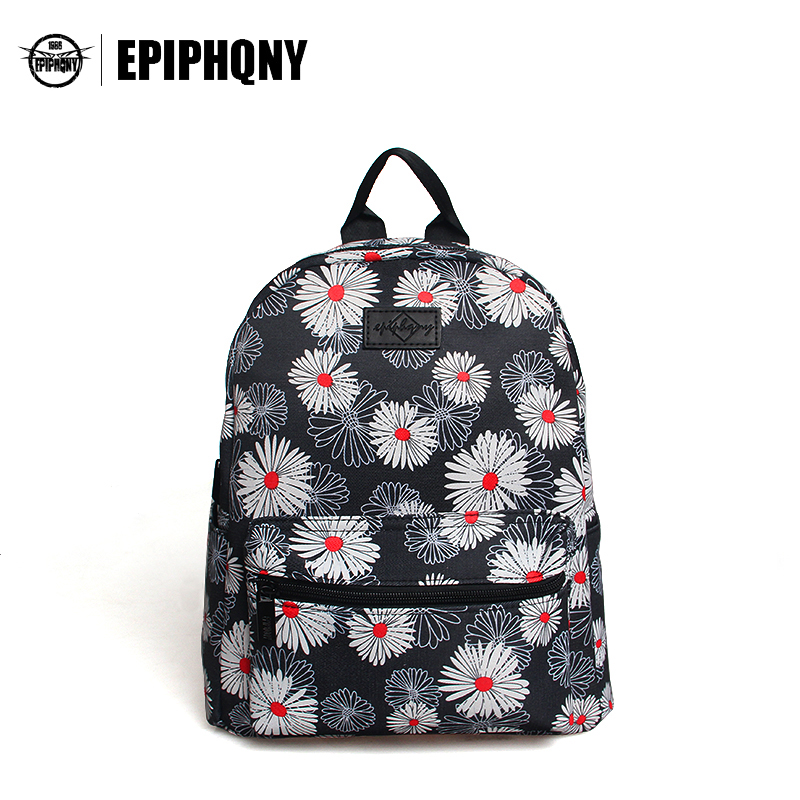 Epiphqny Brand Women Printing Floral Backpack White Flower Canvas College Bags for Teenager Girl Fresh Design Colors Small