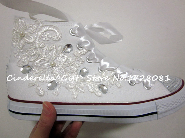 New Fashion Women Sneakers Wedding Crystal Canvas Shoes Lace Crystals
