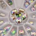 36 PCS 3D Nail Art Glitter Pedrinhas Roda Decoração de Unhas Ferramentas de Design Branco AB Prego Jóia
