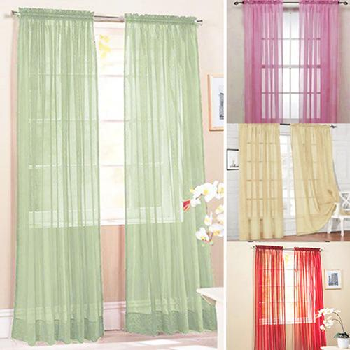1Pc Fashion 100cm x 200cm Modern Cute Glass Yarn Sheer Window Valance Curtain Pure Color Bedroom Home Wedding Decoration