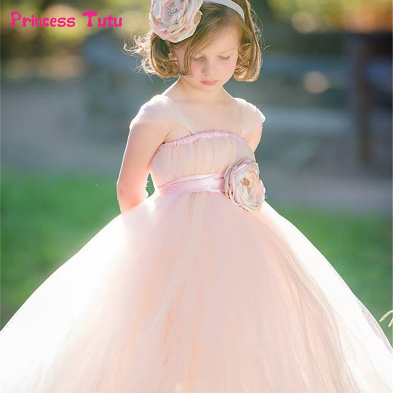 2Y 14Y Pink Flower Girl Dresses For Wedding Kids Girl Tutu Dress Baby Birthday Photo Party Festival Bridal Dress Tulle Ball Gown