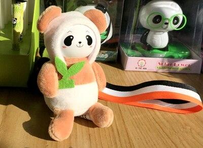 Мультяшная фигура брелок Панда брелоки для женщины сумки аксессуары Шарм Подвеска плюшевая мягкая игрушка повязка на запястье брелок для ключей, подарочный - Цвет: Коричневый
