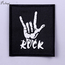 Pulaqi Stripe Punk Rock Patch Band Embroidered Patches for Clothes Iron On Clothing Hippie Badges Sticker
