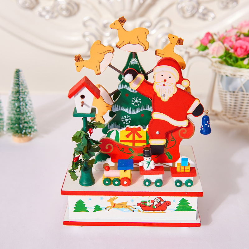 2018 Hot Selling Newest Christmas Table Santa Claus Snowman Windmill Music Box Table Wooden Ornaments Christmas Decorations