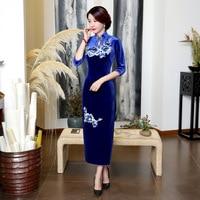 New Arrival Chinese Style Handmade Embroidery Flower Qipao Cheongsam Women S Elegant Velvet Long Dress Plus