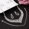 Hot Selling Bride Classic Rhinestone Crystal Choker Necklace Earrings Bracelet Ring Wedding Jewelry Sets Wedding Accessories