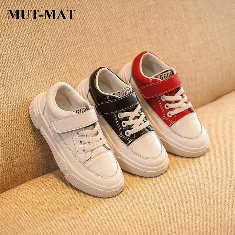 Children's Shoes Spring 2019 Leather Boys Girls White Shoes HookLoop Comfortable Wearable Casual Shoes