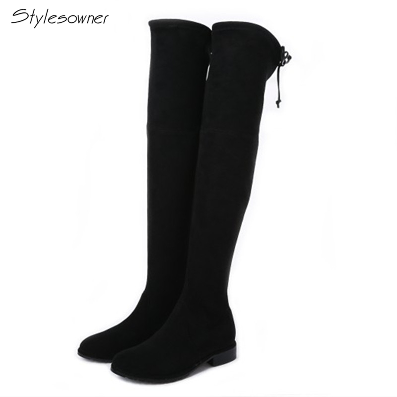 Stylesowner Sexy Slip On Elastic Breathable Long Boots Stretch Sude Leather Over-The-Knee Low Heels Women Thigh Sock Boots