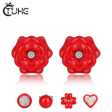 5pcs/Lot Red Ceramic Stud Earrings Different Style For Women Round Heart Flower Shape With Crystal Fashion Wedding Jewelry Gifts