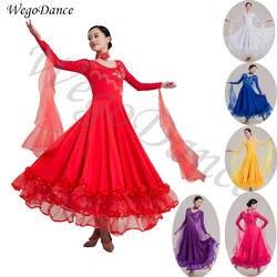 Новый горный хрусталь Современный платье для танцев национальный стандарт Танцы вальс бальных танцев конкуренции платья женские