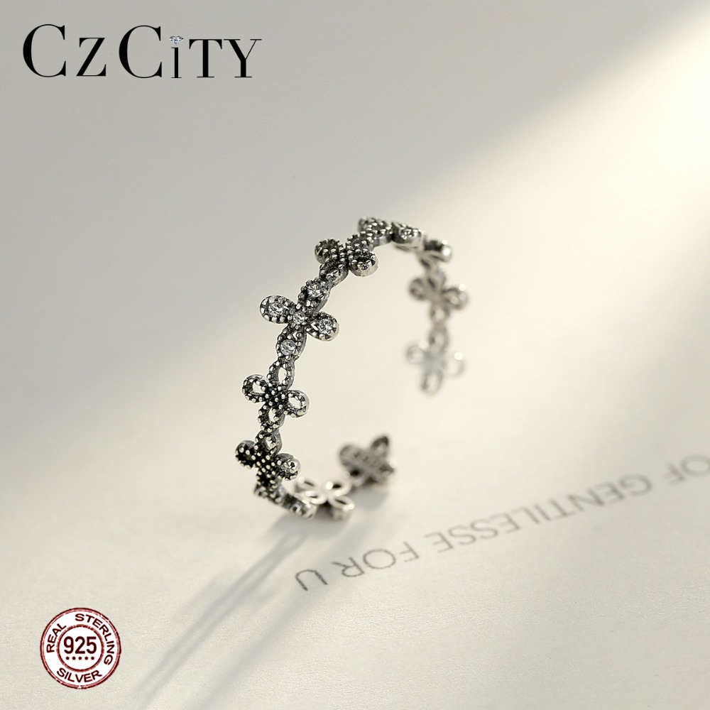 CZCITY Cute 925 Silver Sterling Open Rings For Women Party Dating Silver Exquisite Flower-Shaped Adjustable Female Fine Jewelry