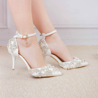 Women Crystal Shoes White High Heels Wedding Shoes Colorful Crystal Bride Shoes Dress Diamond Sandals Sweet Princess Big Size 42