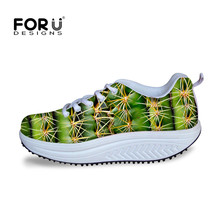 FORUDESIGNS Novelty Green Plants Printed Women's Lace-up Swing Flats Platform Shoes Fashion Breathable Female Slimming Shoes