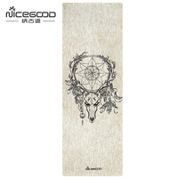 Organic Fiberflax Yoga Mat Eco Friendly Skid Proof 4 5 Mm Thick Natural Rubber And Jute