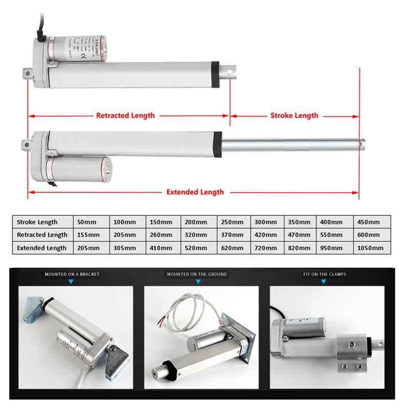 2 4 8 12 16 20 بوصة 900N 12V 16 مللي متر/ثانية صغيرة DC الكهربائية دفع قضيب الأبيض المواد سبائك الألومنيوم محرك ميكانيكي طولي