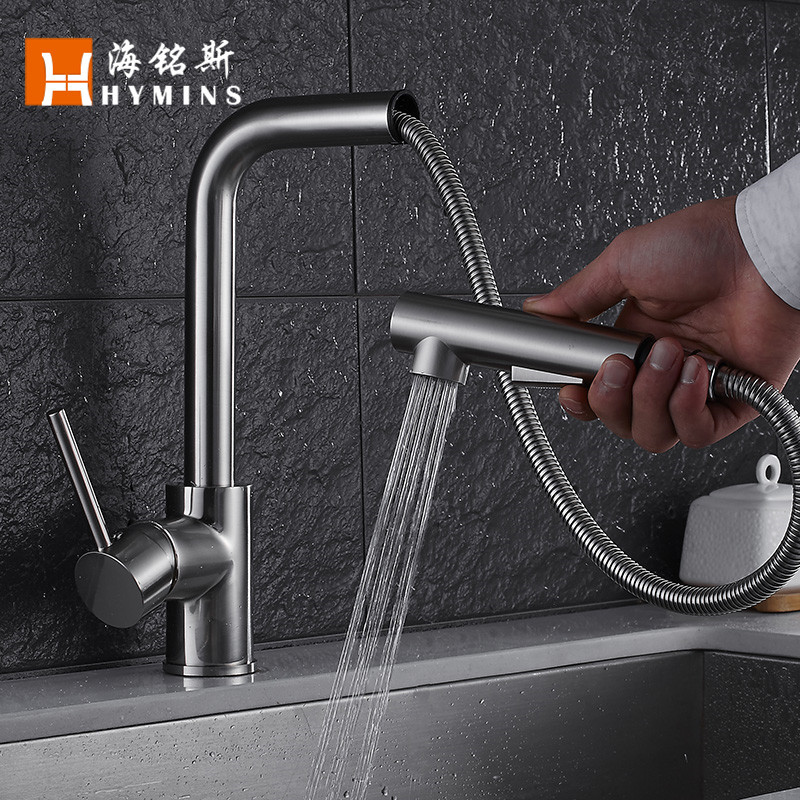 Kitchen Faucets Brass Brushed Silver Bathroom Basin Faucet Pull Out Single Handle Sink Mixer Tap Hot Cold Water Deck Mounted hpb free shipping brass hot and cold water bathroom kitchen faucet mixer tap deck mounted basin sink torneira de cozinha hp4018