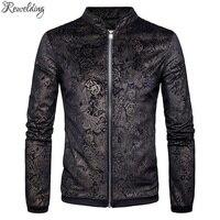 New Design Gold Velvet Embossed Jackets Men Brand Casual Sweater Cardigan Coat Stand Collar Zipper Men