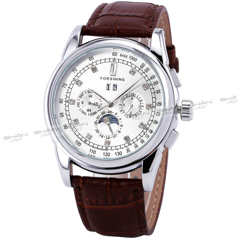 Winner Men Skeleton Automatic Mechanical Watch Leather Strap Sub dials Supersize Case Date Calendar Box