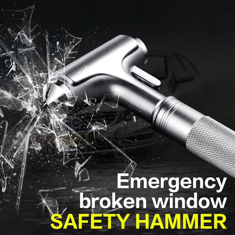 SHEATE Car Emergency Hammer Seat Belt Cutter Metal Steel Knife Window Break Life Saving  Escape Self-rescue Auto Safety Tool