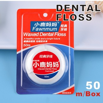 50m Classic Waxed Dental Floss Toothpick Line Flossing Safety Ultra-fine Wax Mint Flat Wire Floss Oral Care Teeth Whitening image