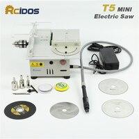 T5 RCIDOS Mini table saw/12V 24V portable DIY wood Cutting machine, desktop buddha beads polish machine,metal/Acrylic cutter