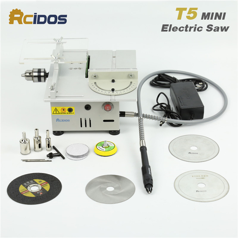 T5 RCIDOS Mini table saw/12V-24V portable DIY wood Cutting machine, desktop buddha beads polish machine,metal/Acrylic cutter metal band jig saw sweep saw small woodworking for beads wood cutting q10027