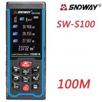 SNDWAY Newest 100M Laser Distance Mete Laser Rangefinder Range Finder Digital Tape USB Color Display Rechargeabel