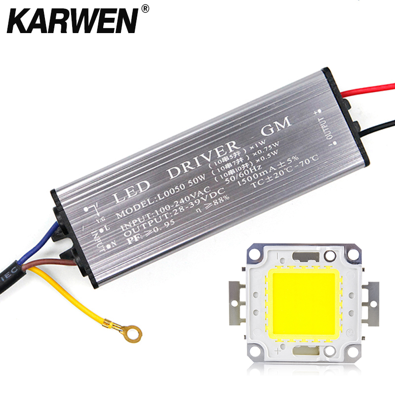 KARWEN Real Watt LED Chips & Driver 10W 20W 30W 50W LED Integrated With Transformer IP67 Led Driver DIY Floodlight Spotlight