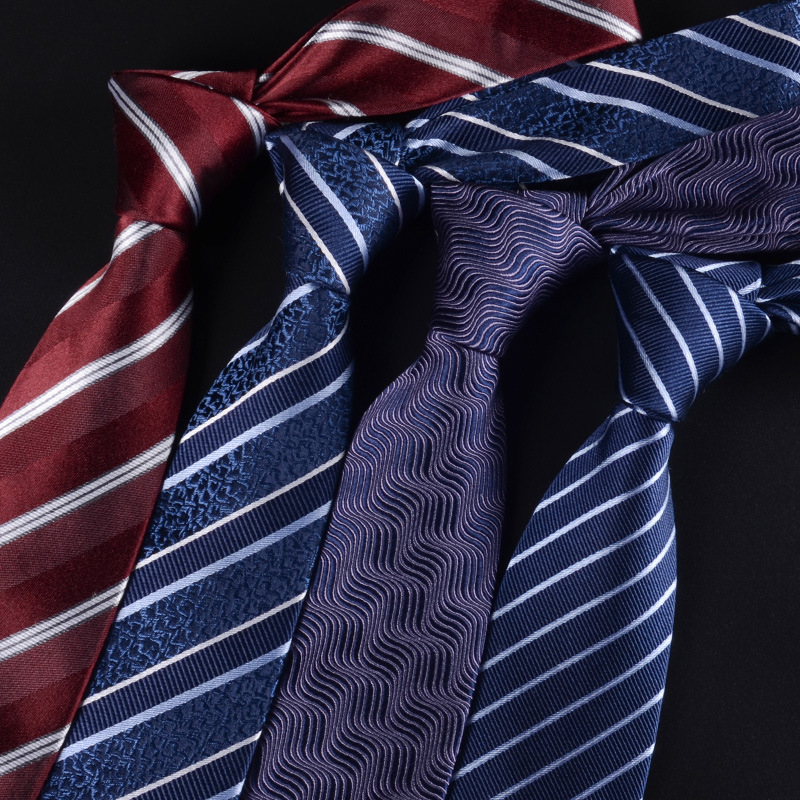 8CM New 100% NATURAL SILK Tie For Men Ties Necktie Genuine Silk Man Tie Stripes Blue Red Black Vocational Groom Wedding Party