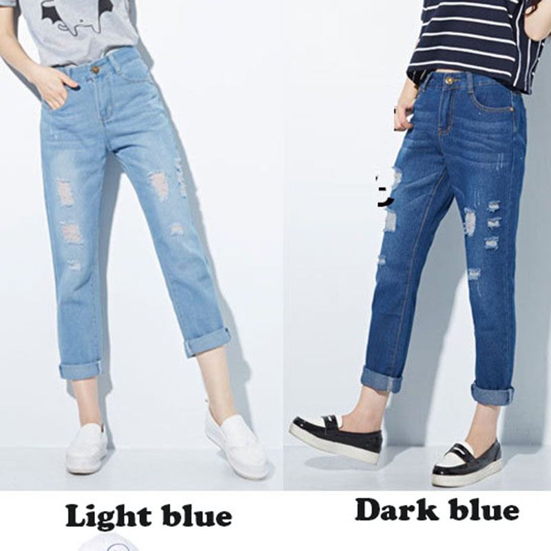 2017 Summer Harem Pants Women Hole Straight Jeans Pant High Waist Loose Casual Soft Ankle-length Pants Large Size Denim Trousers summer casual women jeans high waist big hole ankle length ripped loose straight pants women denim trousers edge curl vintage