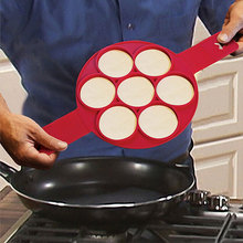 Pancake Maker 7 Holes Round Kitchen DIY  Mold BPA Free Silicone Egg Frying Form Helpers Flip Cooker For Pancakes